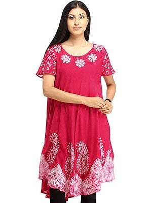 Rose-Red Batik Dyed Dress with Threadwork and Printed Paisleys on Border
