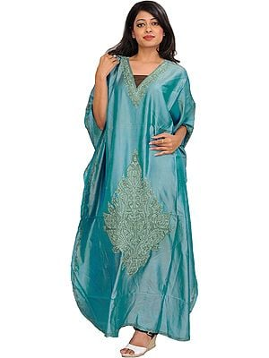 Nile-Blue Kaftan from Kashmir with Ari Hand-Embroidered Paisleys