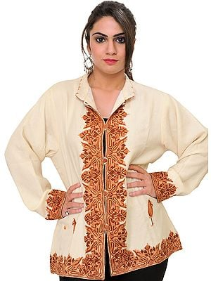 Cream Jacket from Kashmir with Ari Hand-Embroidery on Border