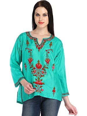 Bright-Aqua Kurti from Kashmir with Ari-Embroidery by Hand