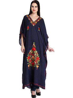 Blue-Indigo Kaftan from Kashmir with Ari-Embroidery
