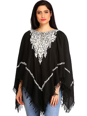 Black and White Poncho from Kashmir with Ari-Embroidered Paisleys