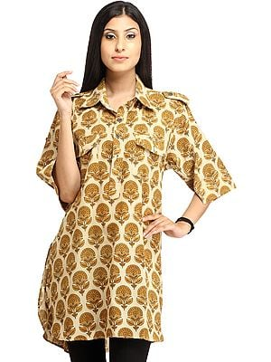 Almond-Oil Kurti from Pilkhuwa with Block-Printed Bootis and Front Pockets