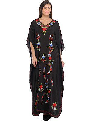 Phantom-Black Ari Embroidered Kaftan from Kashmir