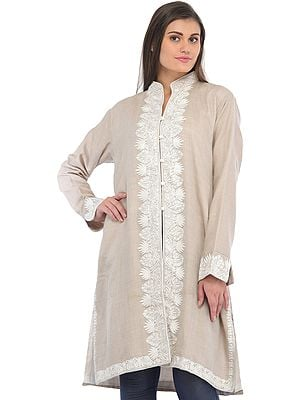 Whitecap-Gray Long Jacket from Kashmir with Ari Hand-Embroidered Paisleys on Border
