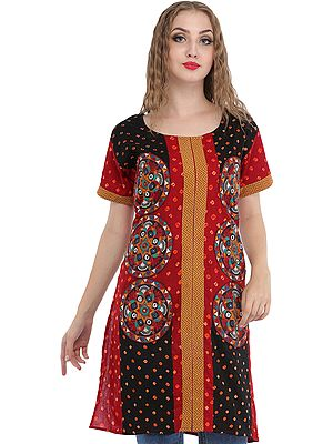 Bandhani Tie-Dye Kurti with Embroidered Patches and Mirrors