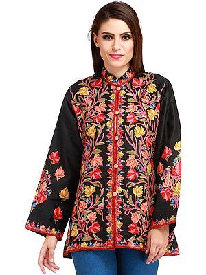 Jet-Black Kashmiri Jacket with Ari Hand-Embroidered Maple Leaves