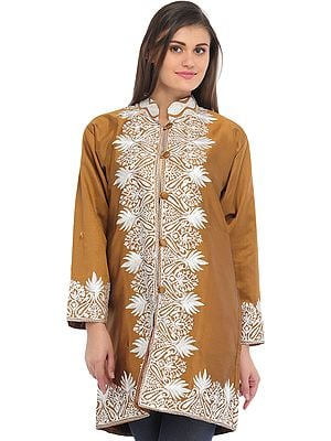 Bone-Brown Jacket with Ari-Embroidered Paisleys on Border