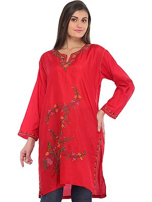 True-Red Kurti from Kashmir with Ari-Embroidery by Hand