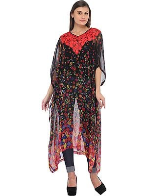 Caviar-Black Digital Floral Printed Kaftan from Kashmir with Ari-Embroidery on Neck