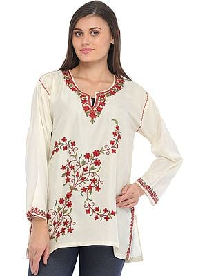 Ivory Kurti from Kashmir with Ari Hand-Embroidered Flowers