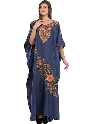 Blue-Indigo Kashmiri Kaftan with Ari Floral-Embroidery