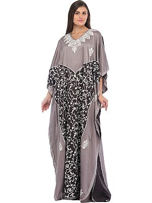 Opal-Gray and Shale Ari-Embroidered Kaftan from Kashmir