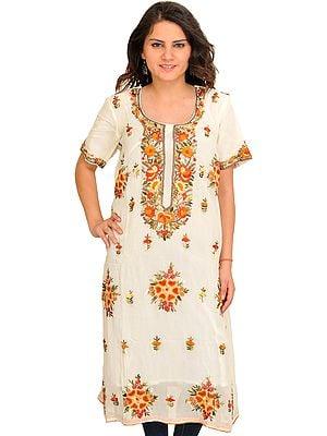Ivory Long Phulkari Kurti with Floral-Embroidery