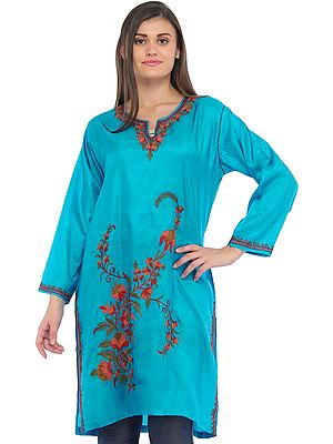 Blue-Jewel Kurti from Kashmir with Ari-Embroidery by Hand