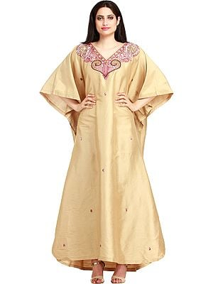 Mojave-Desert Kaftan from Kashmir with Embroidered-Beads and Stone-work