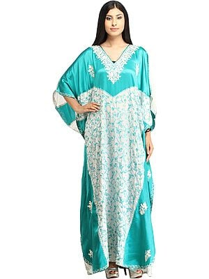 Turquoise and White Kaftan from Kashmir with Ari-Embroidered Paisleys