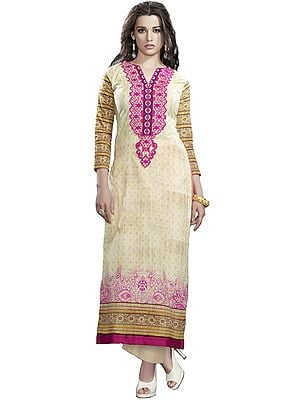 Cream Digital-Printed Long Kurti with Embroidered Patch on Neck