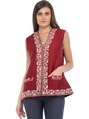Rosewood Waistcoat from Kashmir with Ari Hand-Embroidery on Border