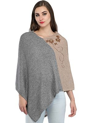 Cashmere Poncho from Nepal with Embroidery
