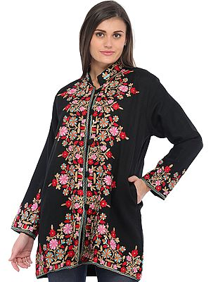Jet-Black Ari Floral-Embroidered Jacket from Kashmir
