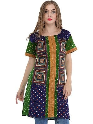 Green and Blue Bandhani Tie-Dye Kurti with Embroidered Patches