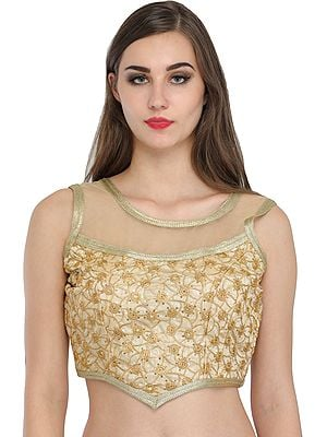 Golden Designer Choli with Embroidered Spirals and Sequins