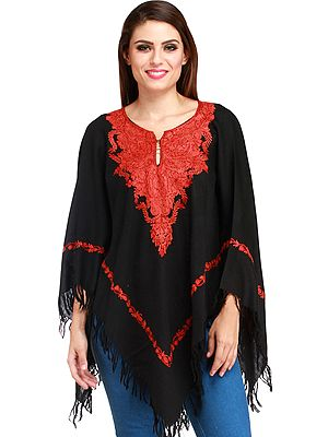 Jet-Black Poncho from Kashmir with Ari Hand-Embroidery on Neck