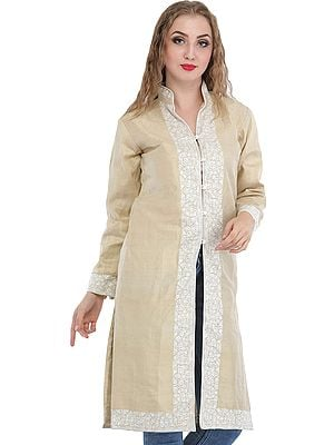 Antique-White Long Jacket from Kashmir with Ari Hand-Embroidery on Border