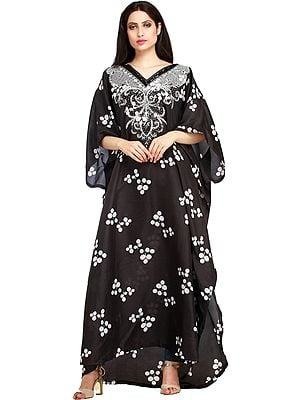 Black and White Printed Kaftan with Hand-Embroidered Beads and Sequins