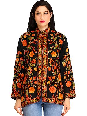 Phantom-Black Jacket from Kashmir with Ari Embroidered Flowers