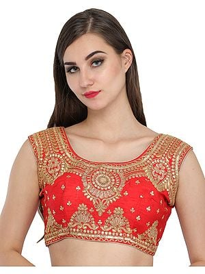Tomato-Red Wedding Padded Choli from Jodhpur with Golden-Embroidery and Sequins