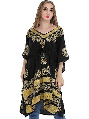 Black Short Batik Kaftan from Kashmir with Thread-Embroidery