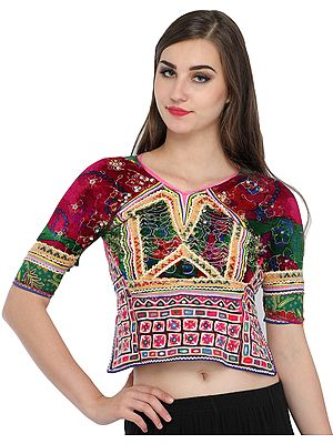 Pink and Green Backless Choli from Kutch with Antiquated Rabari Embroidery and Sequins