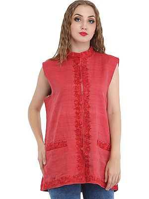Faded-Rose Waistcoat from Kashmir with Ari Hand-Embroidery and Front Pockets