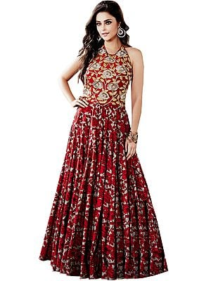 Rococco-Red Floral Printed Wedding Floor Length Dress with Embroidered Beads