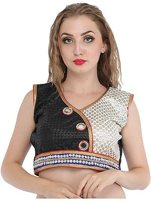 Black and White Choli with Large Mirrors and Patch Border