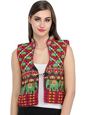 Black Phulkari Embroidered Short Waistcoat from Punjab