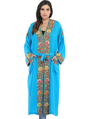 Cyan-Blue Kashmiri Robe with Ari Hand-Embroidered Flowers