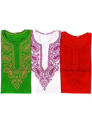 Lot of Three Kurtis with Chikan Embroidery