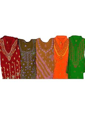 Lot of Five Kurti Tops with Lukhnavi Chikan Embroidery