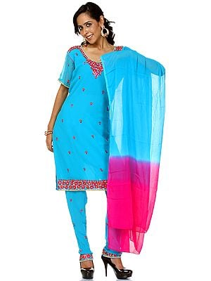 Algiers-Blue Chudidar Kameez Suit Beadwork and Sequins
