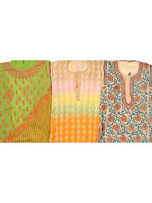 Lot of Three Lukhnavi Chikan Embroidered Kurti Tops