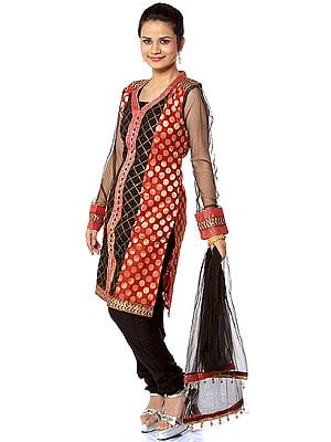 Black and Red Choodidaar Suit with Sequins and Self Weave