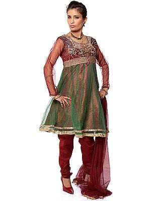 Maroon Wedding Anarkali Suit with Heavy Beadwork on Bust