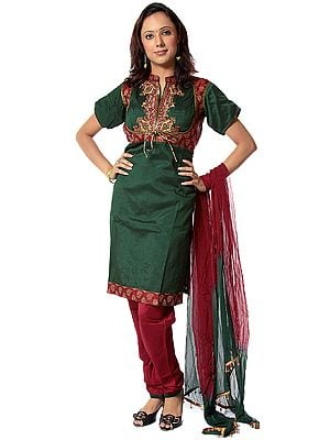 Emerald and Garnet Chudidar Suit with Antique Embroidery