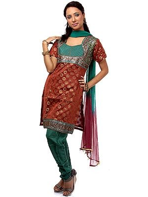 Green and Rust Brocaded Chudidar Suit with Mirrorwork
