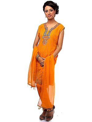 Orange Chudidar Suit with Multi-color Beadwork and Sequins