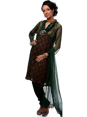 Green Brocaded Chudidar Suit with Velvet and Sequins Embroidered as a Flower