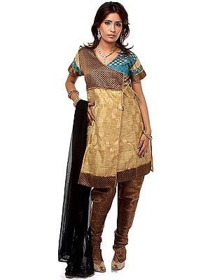 Beige Angarakha Chudidar Suit with Beadwork